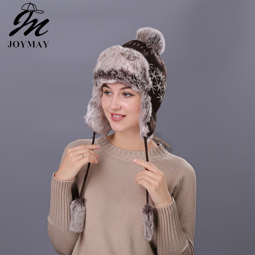 Joymay Winter Hat Bomber Hats For Men Women Thicken Balaclava Cotton Fur Winter Earflap Keep Warm Caps Russian Skull Mask W233
