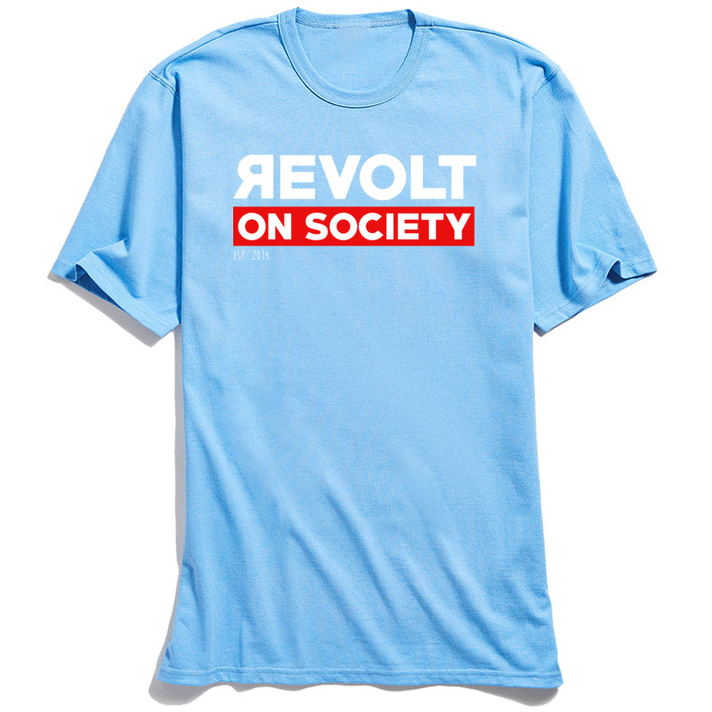 Cotton Fabric Male Short Sleeve Revolt On Society T-Shirt Comics Tees 2018 Discount Print Crewneck Tops & Tees Revolt On Society light