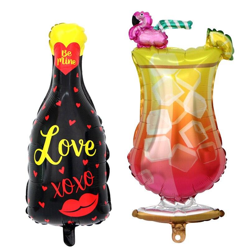 50 pcs coupe du Flamant Rose xoxo lip love bouteille Ballons D'anniversaire D'été Party Decor Fruits D'hélium Ballon Globos Fournitures De Mariage Kid jouet