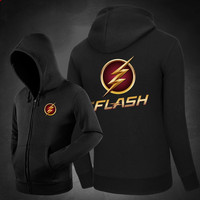 Hot The Flash Logo Hoodies Hoody Sweatshirts Outerwear Unisex Cotton Zipper Coat DC Super Hero
