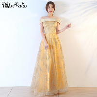 PotN Patio Gold Evening Dresses Long 2017 New Boat Neck Off The Shoulder Ball Gown Sequined