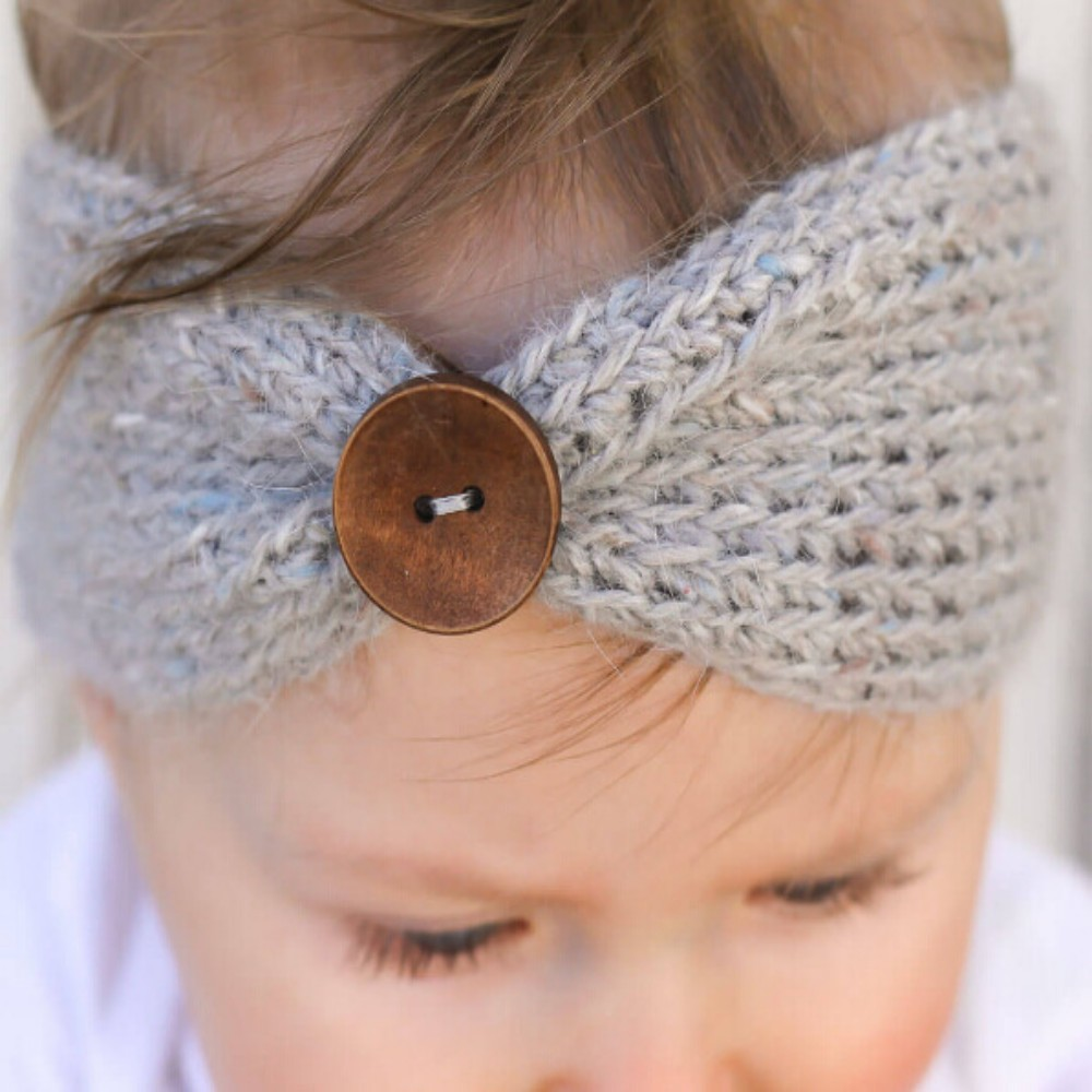 Baby headbands headwear manual wool woven Baby Headband knitted belt buckle elastic hair band 6 colors