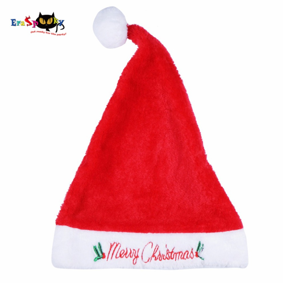 2017 High Quality Christmas Costume Santa Hat Adult Women Fur Christmas Hat Xmas Embroidery Soft Warm Winter Christmas Cap