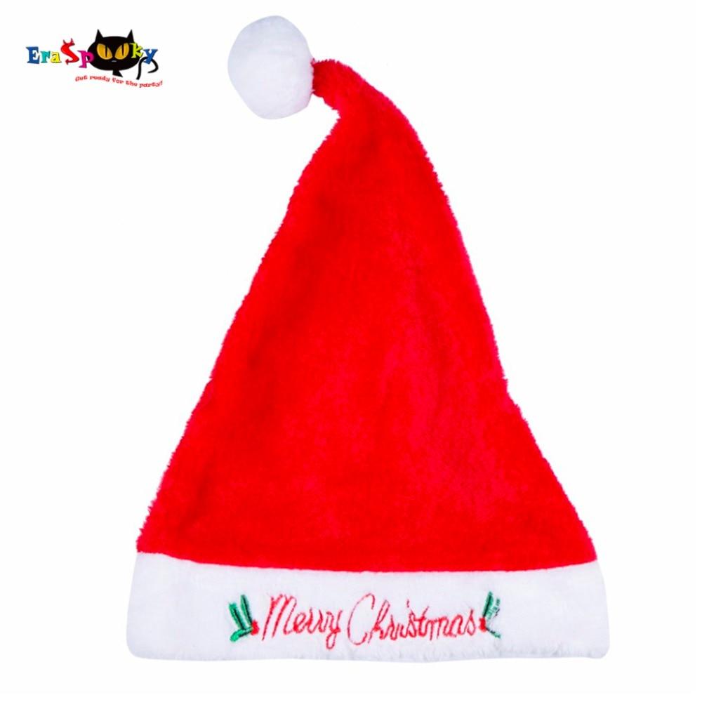 2017 High Quality Christmas Costume Santa Hat Adult Women Fur Christmas Hat Xmas Embroidery Soft Warm Winter Christmas Cap