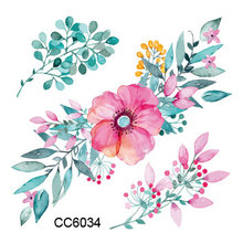 CC6034 6X6cm Little Colored Plant Rose Flower Designer Temporary Tattoo Sticker Body Art Water Transfer Fake Taty For Face