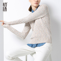Toyouth Women Pullover Autumn Winter Solid Color Crew Neck Long Sleeve Elegant Knitted Sweaters