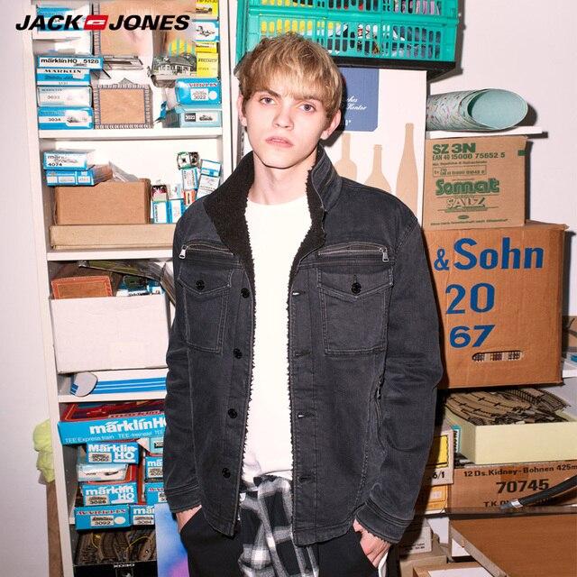 Jack Jonesฤดูใบไม้ร่วงฤดูหนาวใหม่Lamb Woo Fur Liner Denimแจ็คเก็ต