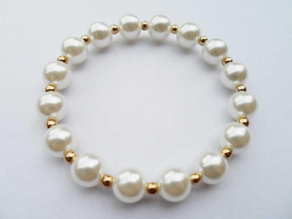Moda 10 MM perły koraliki lato nosić bransoletka biżuteria dla kobiet, 2019 top sprzedaż sztuczna perła bransoletka dobra jakość niska cena