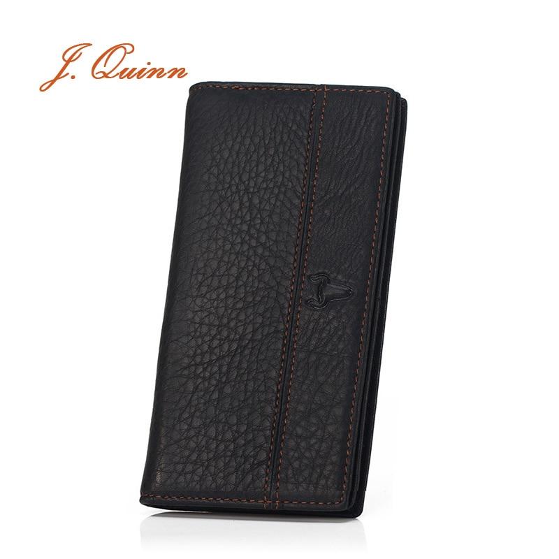 J.Quinn Portfolio Man for Boss zip pénztárca hosszú fekete valódi bőr férfi kártya pénztárca puha vékony üzleti tervező pénztárca férfi