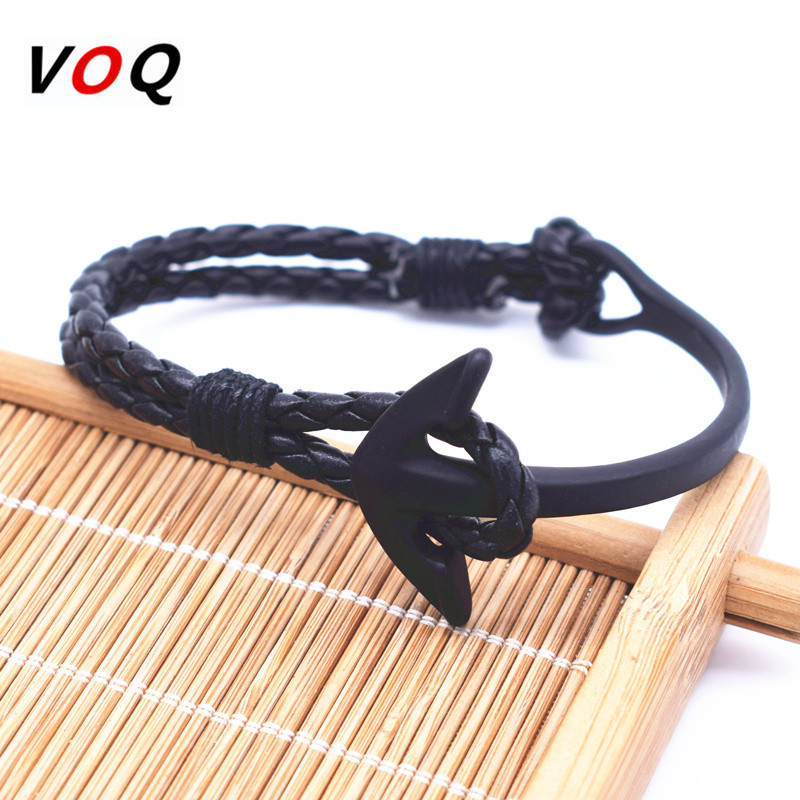 2016 Vintage Black Curved Anchor Bracelet Men High Quality Leather Bracelets & Bangles Handmade Jewelry