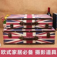 Рекламные Юнион Джек ретро чемодан деревянный ящик коробка для хранения Творческое начало отеля фотографии витрина