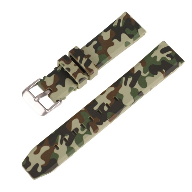 Classic camouflage Silicone rubber watch band high quality strap watch band 20/2