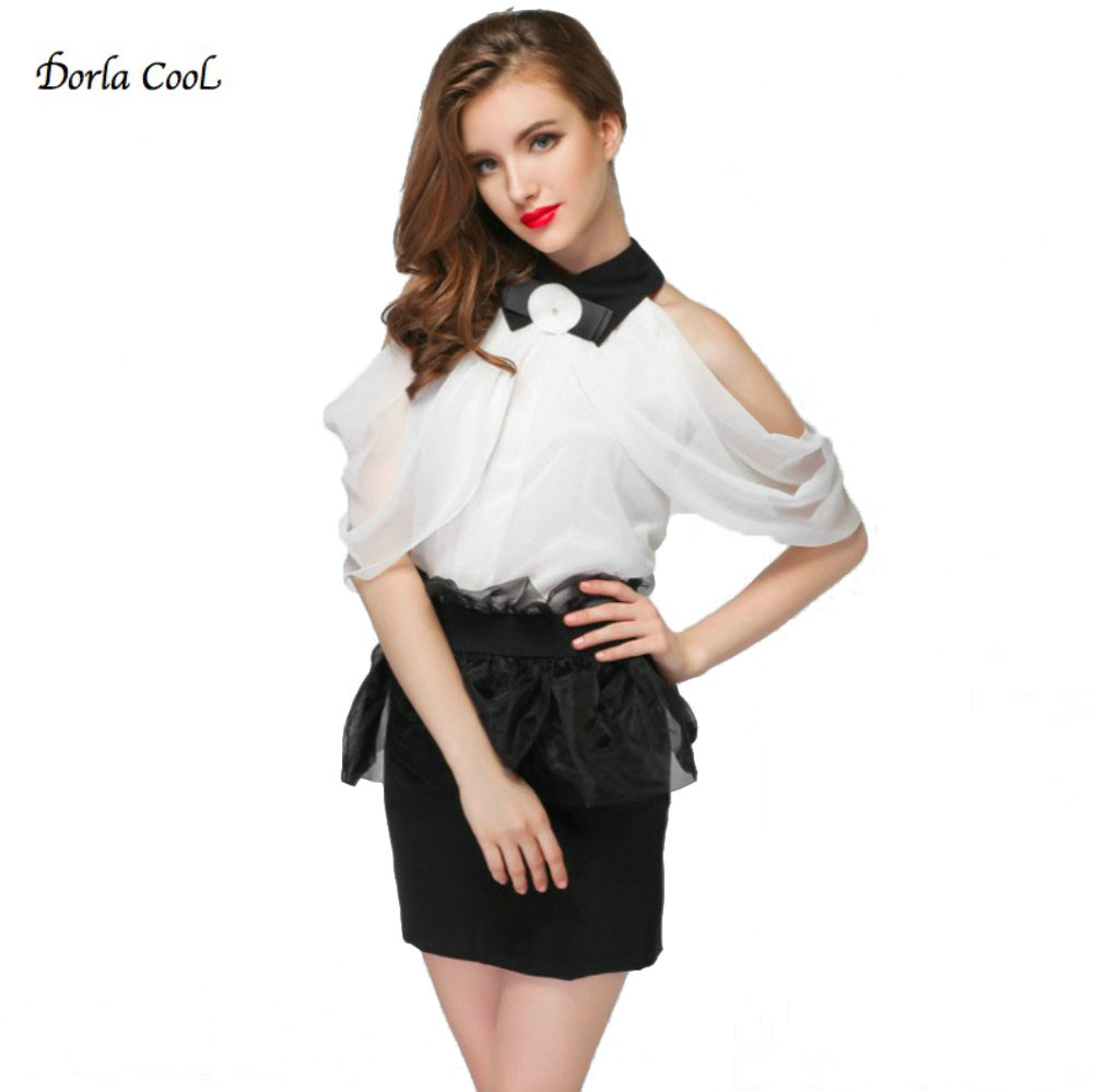Dorla Cool Sexy Women Blouse Off Shoulder Lace Party Bow Shirts Women s Blouses White Shirt