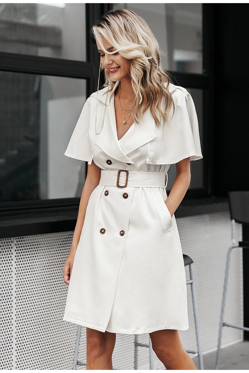 Simplee Solid ruffled sleeve women blazer dress Elegant sash belt office ladies trench dress V-neck shawl party dress vestidos 8