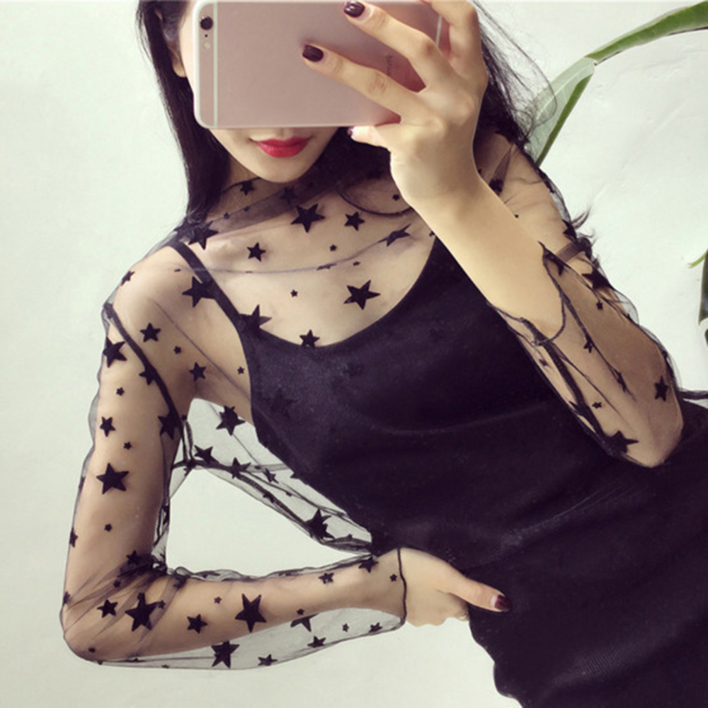 2019 Explosion Models Summer Female Wild Sexy Party Fashion Black Lace Perspective Mesh Loose Bottoming Long-sleeved Shirt