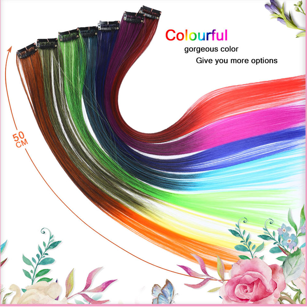 HiDoLASynthetic Clip In Hair Extensions One Piece Rainbow Clip On Hair Pieces For Women Purple Pink Wig Hair Extension Headwear in Women 39 s Hair Accessories from Apparel Accessories