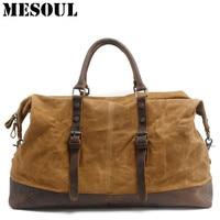 Waterproof Duffel Bag Canvas Carry On Weekend Bags Vintage Military Shoulder Handbag Leather Travel Gym Tote