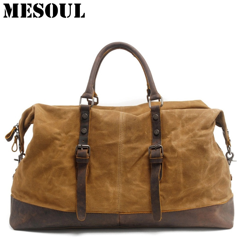 Waterproof Duffel Bag men Canvas Carry On Weekend Bags Vintage Military Shoulder Handbag Leather Travel Tote Large Overnight Bag mybrandoriginal travel totes wax canvas men travel bag men s large capacity travel bags vintage tote weekend travel bag b102