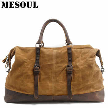 Waterproof Duffel Bag men Canvas Carry On Weekend Bags Vintage Military Shoulder Handbag Leather Travel Tote Large Overnight Bag - DISCOUNT ITEM  50% OFF All Category
