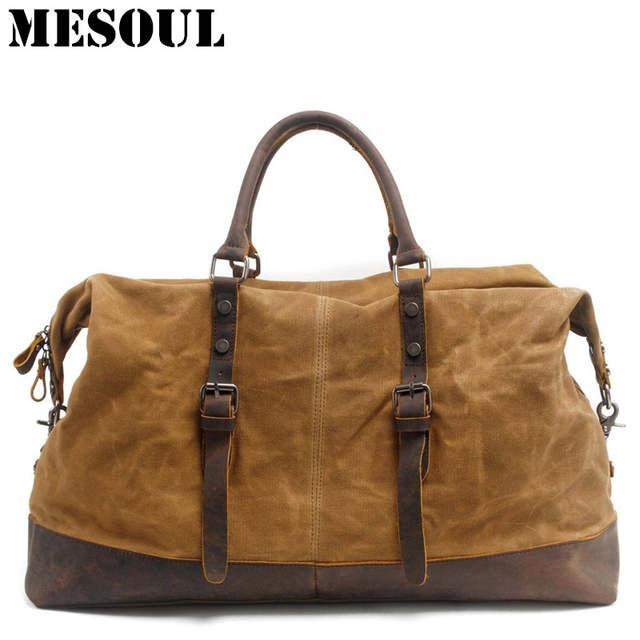 50f30f237bc1 Online Shop Waterproof Duffel Bag men Canvas Carry On Weekend Bags Vintage  Military Shoulder Handbag Leather Travel Tote Large Overnight Bag