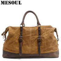 Waterproof Duffel Bag men Canvas Carry On Weekend Bags Vintage Military Shoulder Handbag Leather Travel Tote Large Overnight Bag