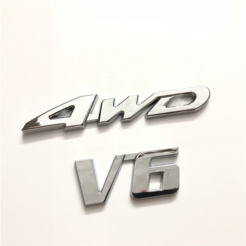 Silver 4WD V6 3D Car Vehicle Tailgate Sticker Trunk Lid Emblems Badge Decal