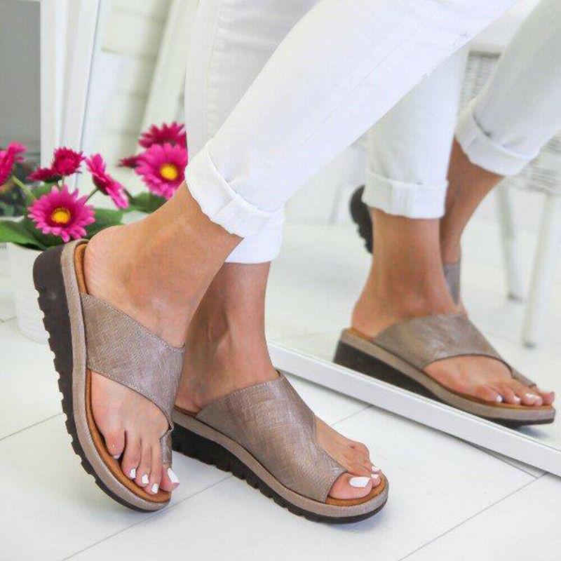 HTB1E8ZScQ9E3KVjSZFGq6A19XXa3 Women PU Leather Sandals Flip Flops Woman Shoes Platform Flat Sole Casual Orthopedic Bunion Corrector Ladies Foot Correction
