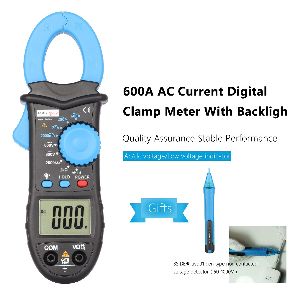 Acm12 600a Ac Current Digital Clamp Meter Multimeter Alternating Main Voltage Indicator 1 4 5 2 Bside With Avd01