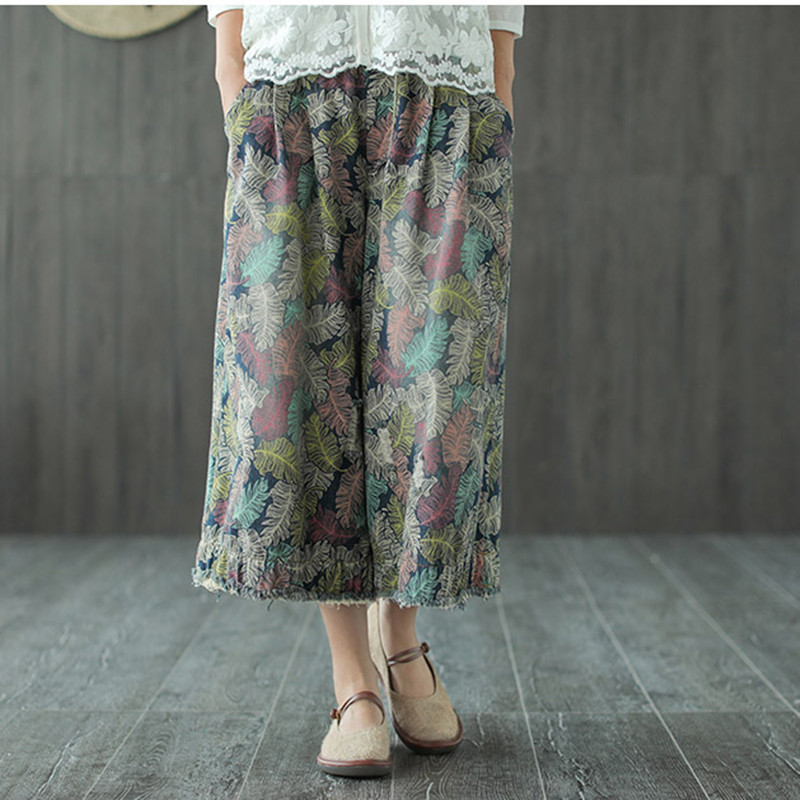 Johnature Summer New Print Leaf   Wide     Leg     Pants   Elastic Mid Waist 2018 Women Pockets Rough Selvedge Casual Calf-Length   Pants