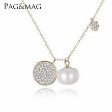 PAG & MAG Marca Simples Charme Wafer Pingente Nacklace Jóias de Prata bonito Para A Primavera Novos Acessórios de Casamento No. FN0068