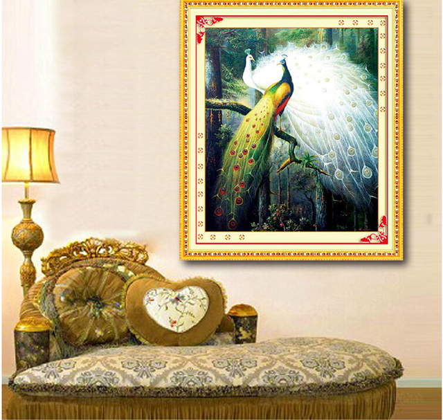 75*65cm Needlework,DIY Cross stitch,Full Embroidery kit,Forest love bird peacock Cross-Stitch animal decor paint wholesale