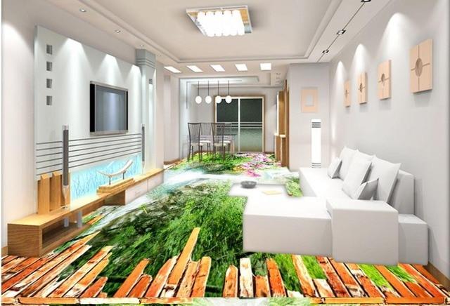 Vinyl Flooring Bathroom Waterfall Scenery 3d Wallpaper Living Room