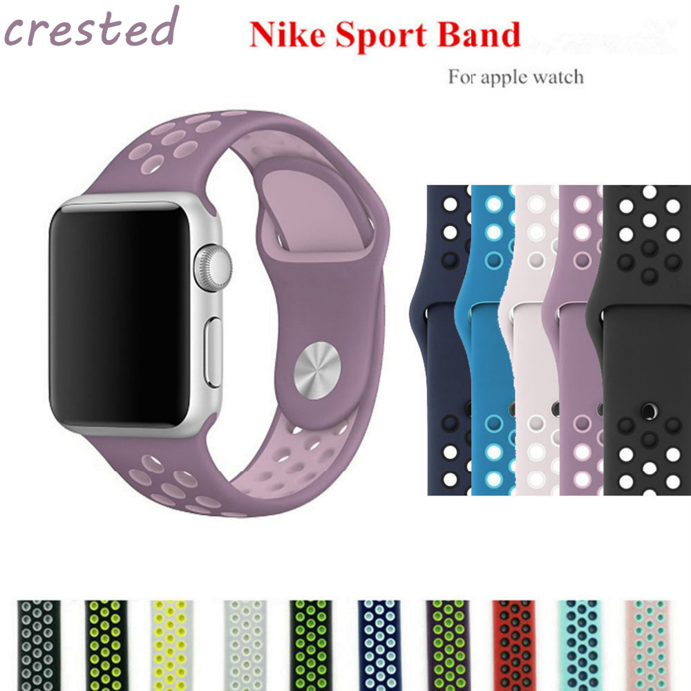 все цены на  CRESTED BRAND sport Silicone strap for apple watch band  38 mm bracelet wrist band watch watchband For iwatch nike 3/2/1  онлайн