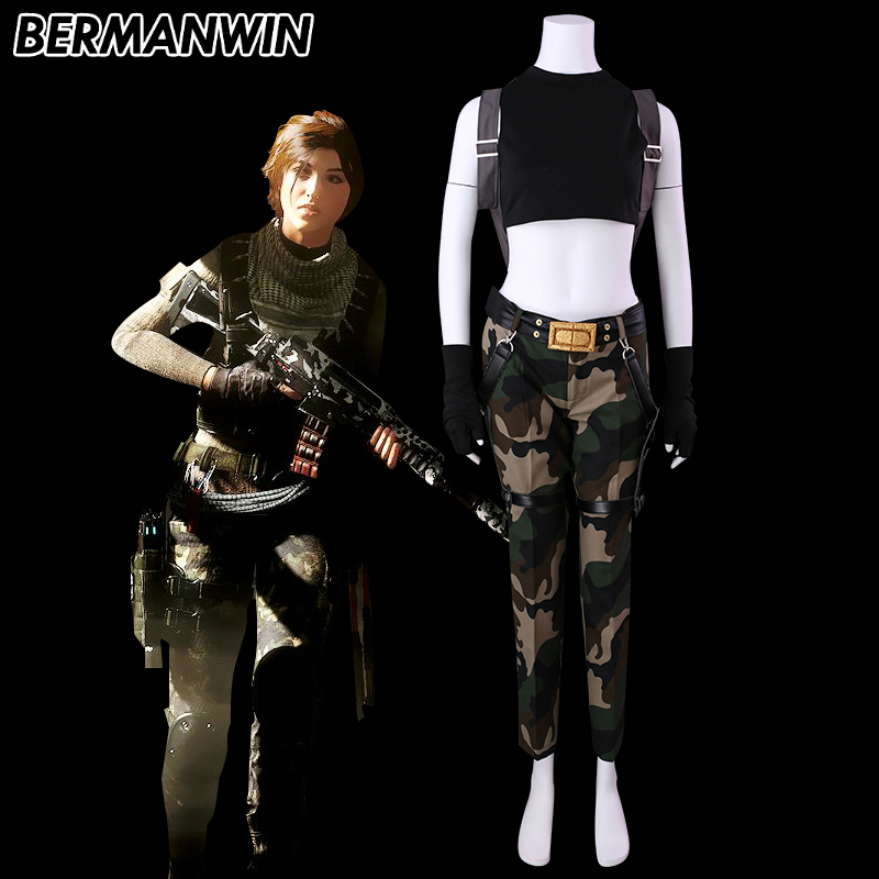 BERMANWIN High Quality Tomb Raider Lara Croft Costume Full Set Adult Women Halloween Cosplay Costume