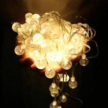LED كريستال الكرة سلسلة أضواء 110 فولت/220V10M 20 متر 30 متر الجنية غلوب جارلاند لقضاء عطلة حفل زفاف الباحة عيد الميلاد الديكور
