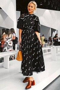 Image 4 - XF 20120 modelos de primavera y verano modelo diseñador bohemio mujer vestido mediano largo sección de cintura alta moda Casual Milan Runwa