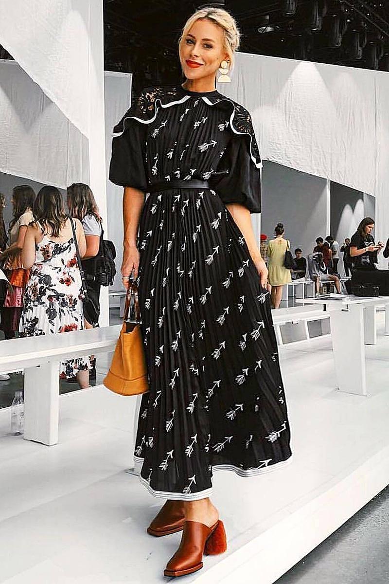 XF 2019 printemps et été modèles modèle Designer bohème femmes robe moyenne longue Section taille décontracté Milan Runwa - 4