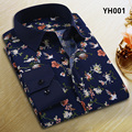 Men Flower Priting Shirt Long Sleeve Cotton Slim Fit Dress Shirt Mens Male Shirt Casual S-4XL Big Size Dress Shirt Business
