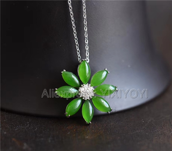 925 Sterling Silver Jasper Green HeTian Jade Beads Inlay Sun Flower Lucky Pendant +Chain Necklace Charm Fine Jewelry Girl's Gift 925 silver natural white white hetian jade beads inlay flower dangle lucky pendant necklace ring elegant woman s jewelry set