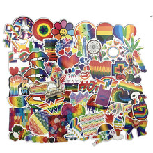 60 PCS Rainbow sticker Anime Icon Animal Cute Decals Stickers Gifts for Children to Laptop Suitcase Guitar Fridge Bicycle Car(China)
