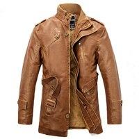 Повседневное зимняя куртка Для мужчин длинная куртка с секциями Искусственный Мех теплая куртка из искусственной кожи пальто Толстые Трен