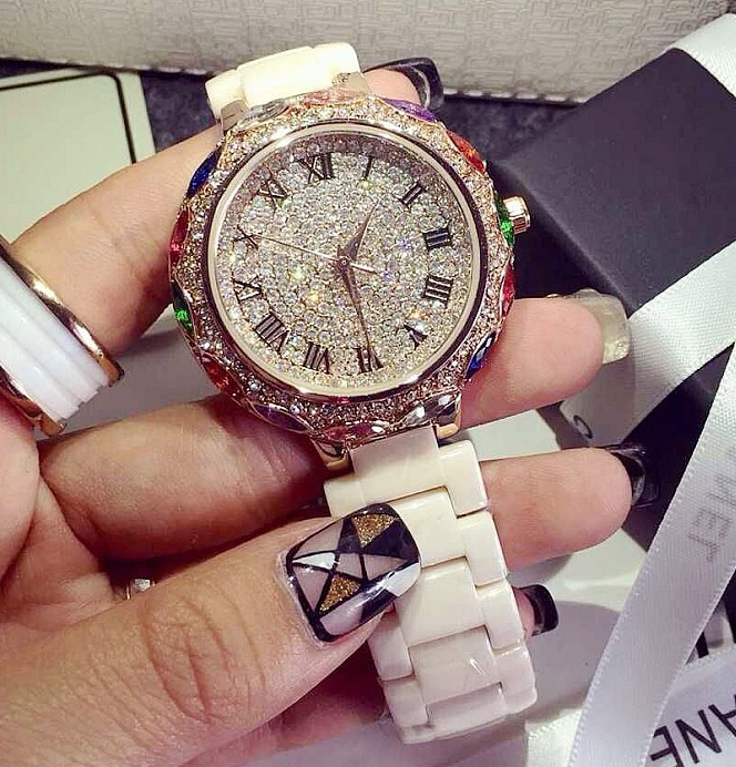 New Rainbow Color Famous Brand Full Crystal Stylish Women Watch Luxury Ceramic Band Rhinestone Watch Bangle Bracelet Dropship