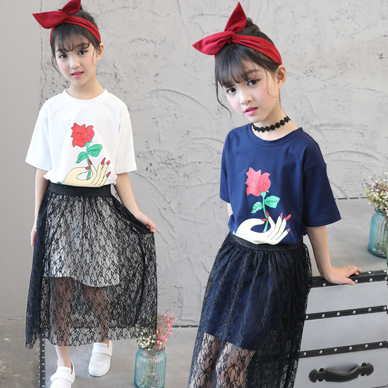 New 2017 Summer Girls Dress Clothing Sets Fashion Short Sleeve Long T-shirt + Lace Skirts Children Kids Girl Clothes 2pcs Set girls summer dress pullover girl clothes character short sleeve kids outfits 2016 summer style fashion kids t shirt for girls