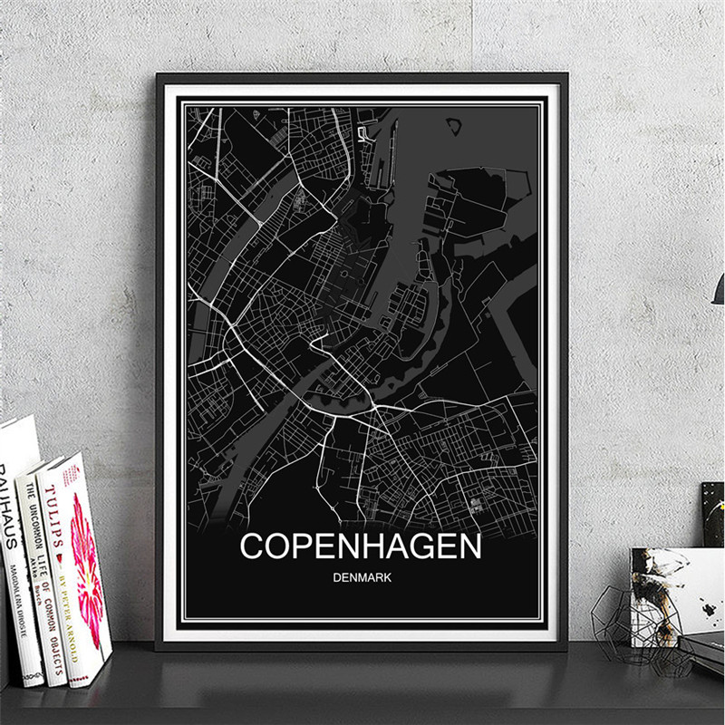 Famous World Map COPENHAGEN Oil Painting City Poster Abstract Modern Canvas Coated Paper Print Picture Living Room Cafe Decor