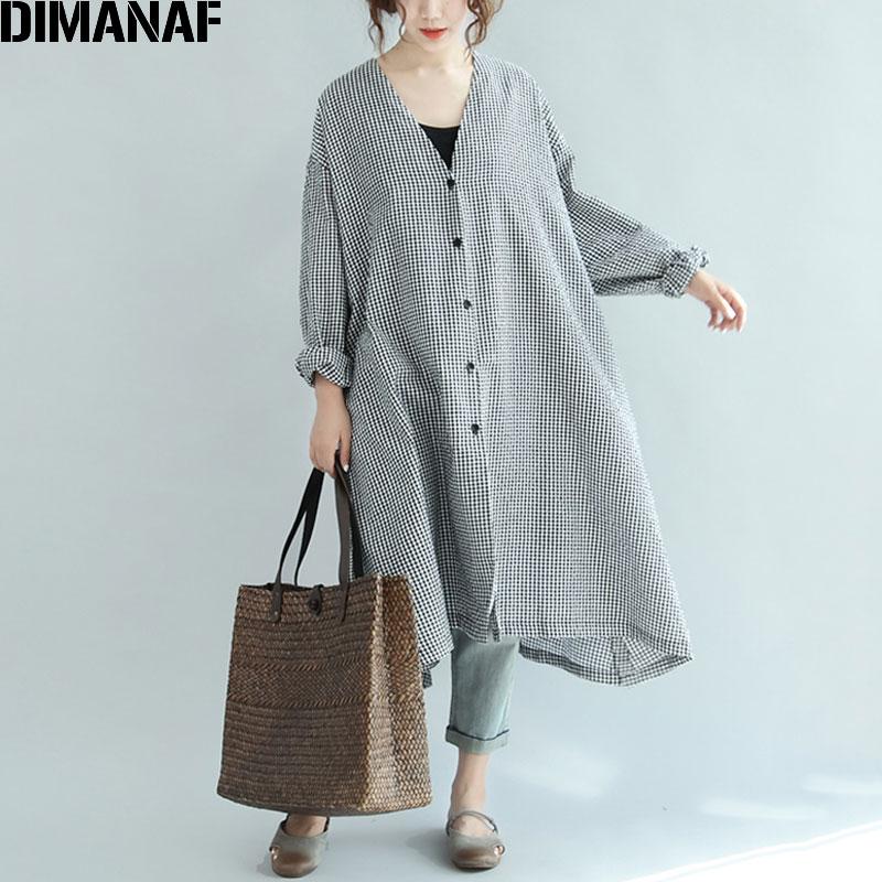 Женское льняное платье DIMANAF, длинное платье большого размера с треугольным вырезом и принтом «летучая мышь»|Платья|   | АлиЭкспресс