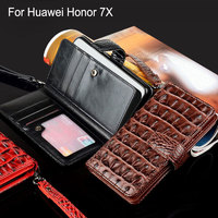 For Huawei Honor 7x Case Luxury Crocodile Snake Leather Flip Business Style Wallet Phone Case For
