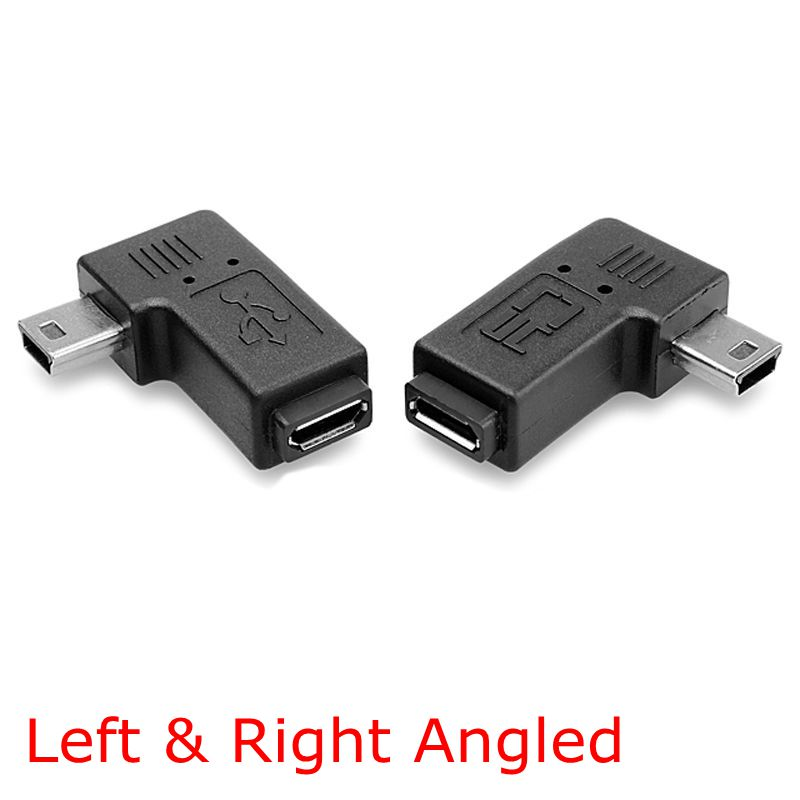 90 Degree Left & Right Angled Mini USB 5pin Male to Micro USB Female Data Sync Power Adapter universal plastic usb male to micro usb data sync
