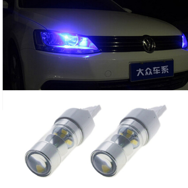 A pair HID White Reflector LED Bulbs for Volkswagen B7 Passat Beetle Daytime DRL Lights