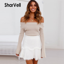 SharVell Women Slash neck Backless Slim Sexy Sweater Fashion Flare Sleeve Pullover Sweaters Knitted Spring Solid Inside