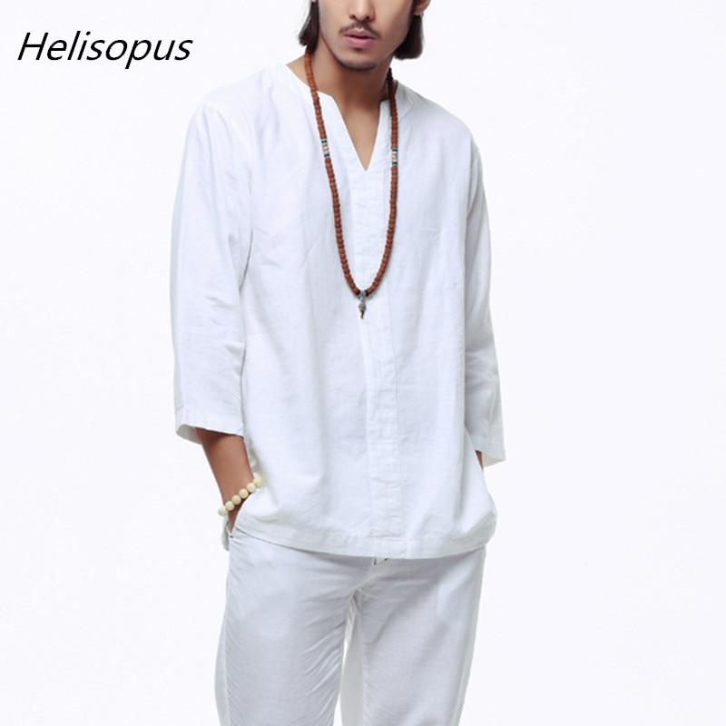 Helisopus Retro Vintage Shirts Men's Loose Cotton Linen Half Sleeves Shirts White Blue Khaki Black Male Plus Size Casual Shirts